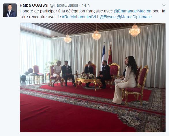 صورة نشرها الويسي على حسابه الرسمي خلال مشاركته بالمحادثات رفيعة المستوي بين الملك والرئيس الفرنسي